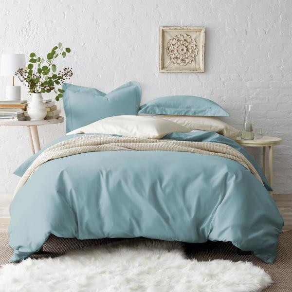 The Company Store Cloud Solid Wrinkle-Free Sateen King Duvet Cover