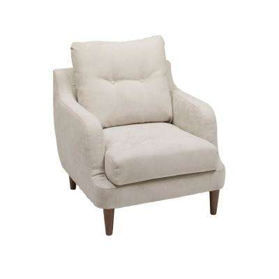 Victoria Beige Fabric Accent Chair with Sloped Armrests