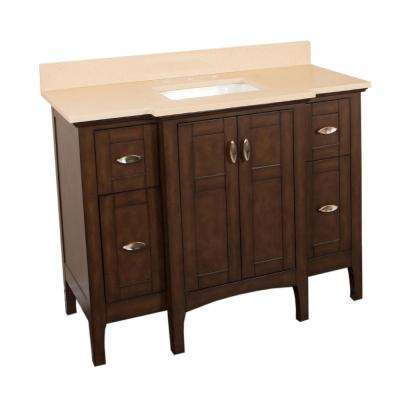 Pacifica 45 in. W x 22 in. D Single Vanity in Sable Walnut with Quartz Vanity Top in Beige with White Basin