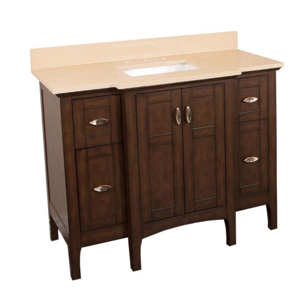 Single Vanity Sable Walnut Quartz Vanity Top Beige White Basin