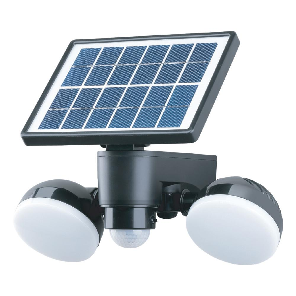 Link2home Super Bright Black 600 Lumen Motion Activated Outdoor Dual Head Led 6500k Solar Ed