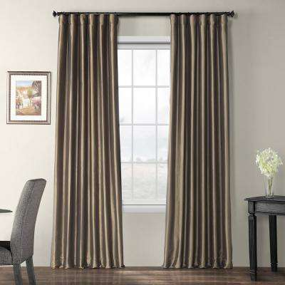 Mushroom Brown Blackout Faux Silk Taffeta Curtain - 50 in. W x 120 in. L
