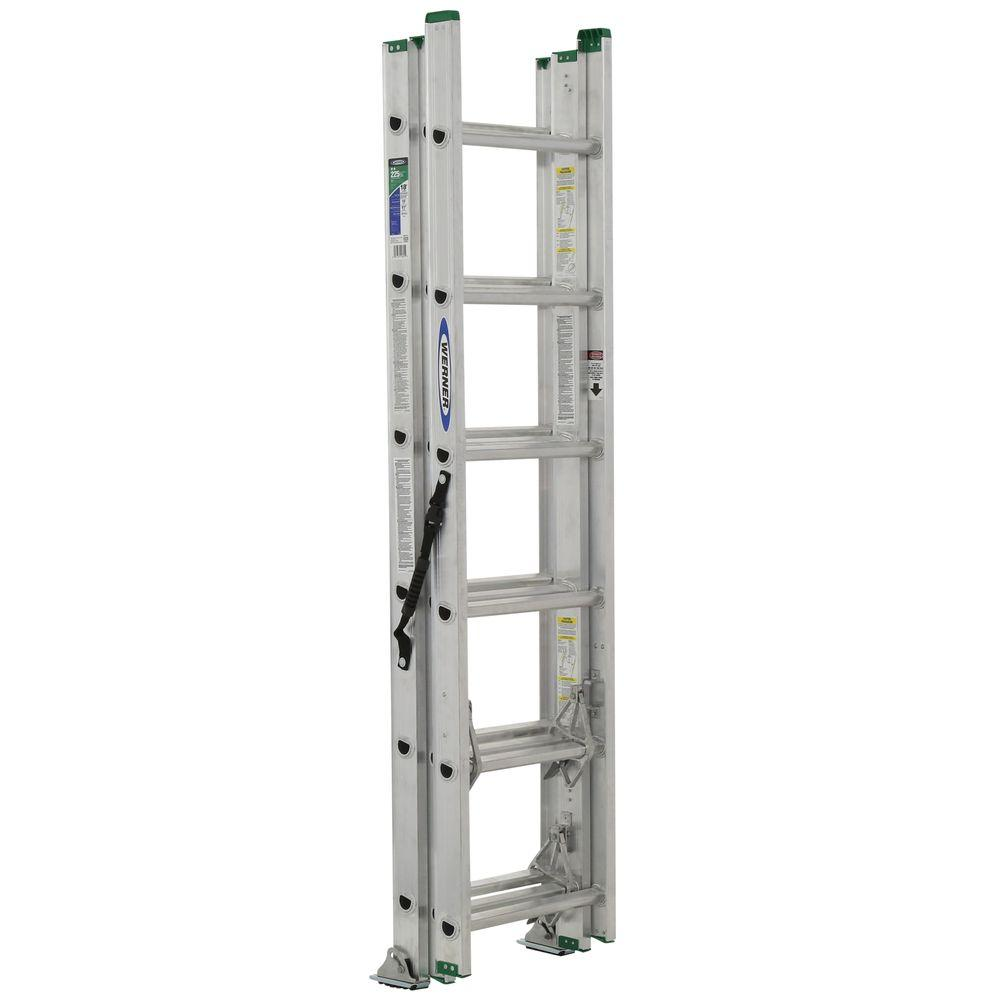 Werner 16 ft. Aluminum 3 Section Compact Extension Ladder with 225 lb. Load Capacity Type II Duty Rating