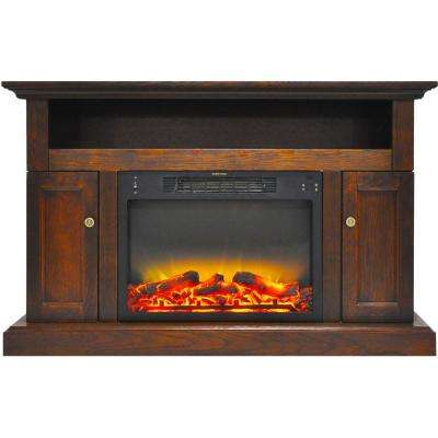 Sorrento Electric Fireplace with an Enhanced Log Display and 47 in. Entertainment Stand in Walnut