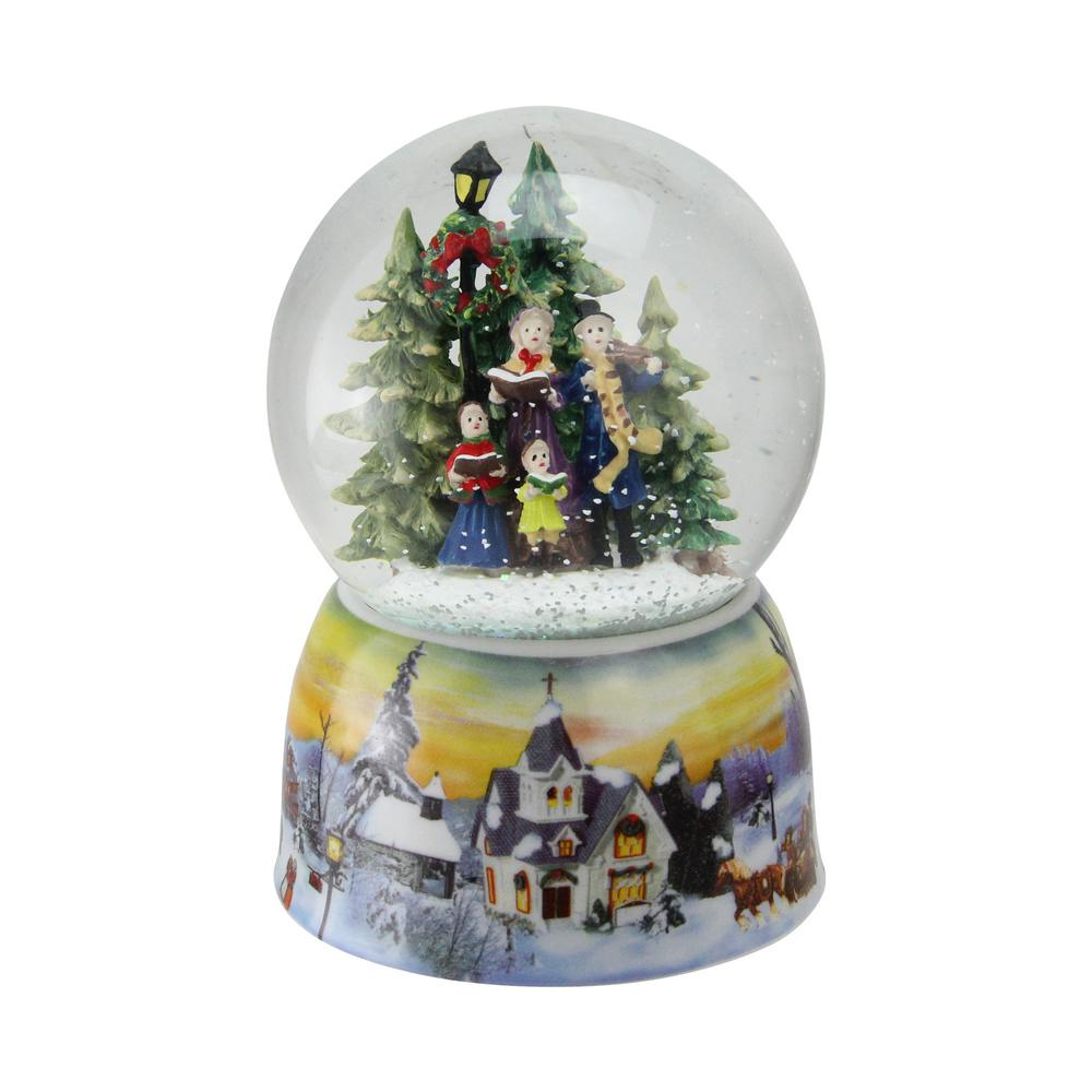 christmas carolers winter scene musical water snow globe