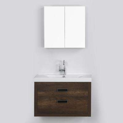 31.5 in. W x 19.4 in. H Bath Vanity in Brown with Resin Vanity Top in White with White Basin and Mirror