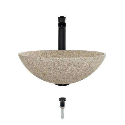 Stone Vessel Sink in Honed Basalt Tan Granite with 731 Faucet and Pop-Up Drain in Antique Bronze