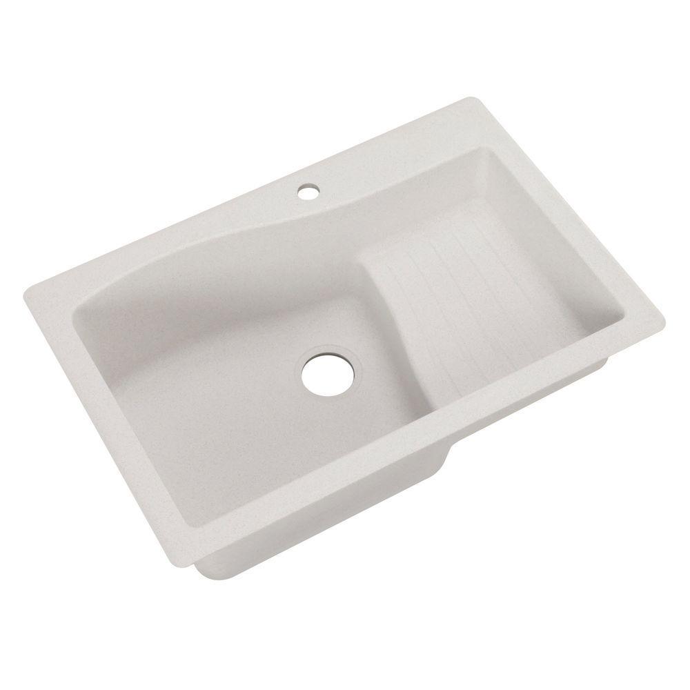 Ascend Drop-In/Undermount Granite 33 in. 1-Hole Single Bowl Kitchen Sink in Bianca