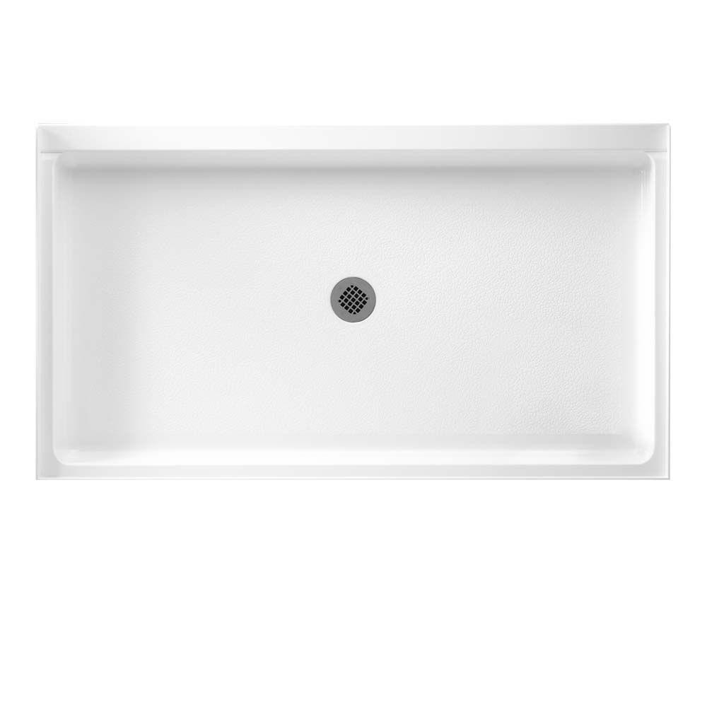 Swan 34 in. x 60 in. Solid Surface Single Threshold Shower Floor in White