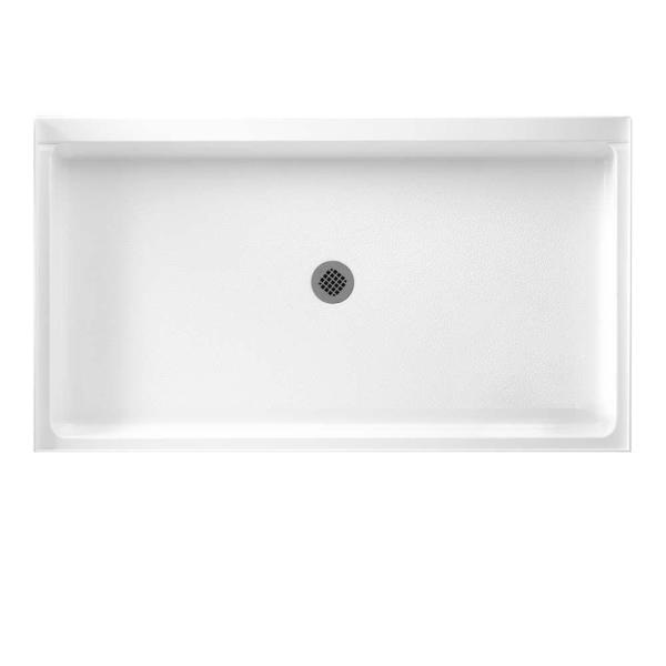 34 in. x 60 in. Solid Surface Single Threshold Center Drain Shower Pan in White