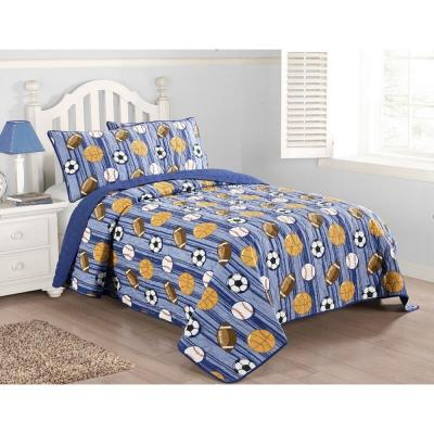 Kute Kids Junior Varsity Blue 3-piece Quilt Set