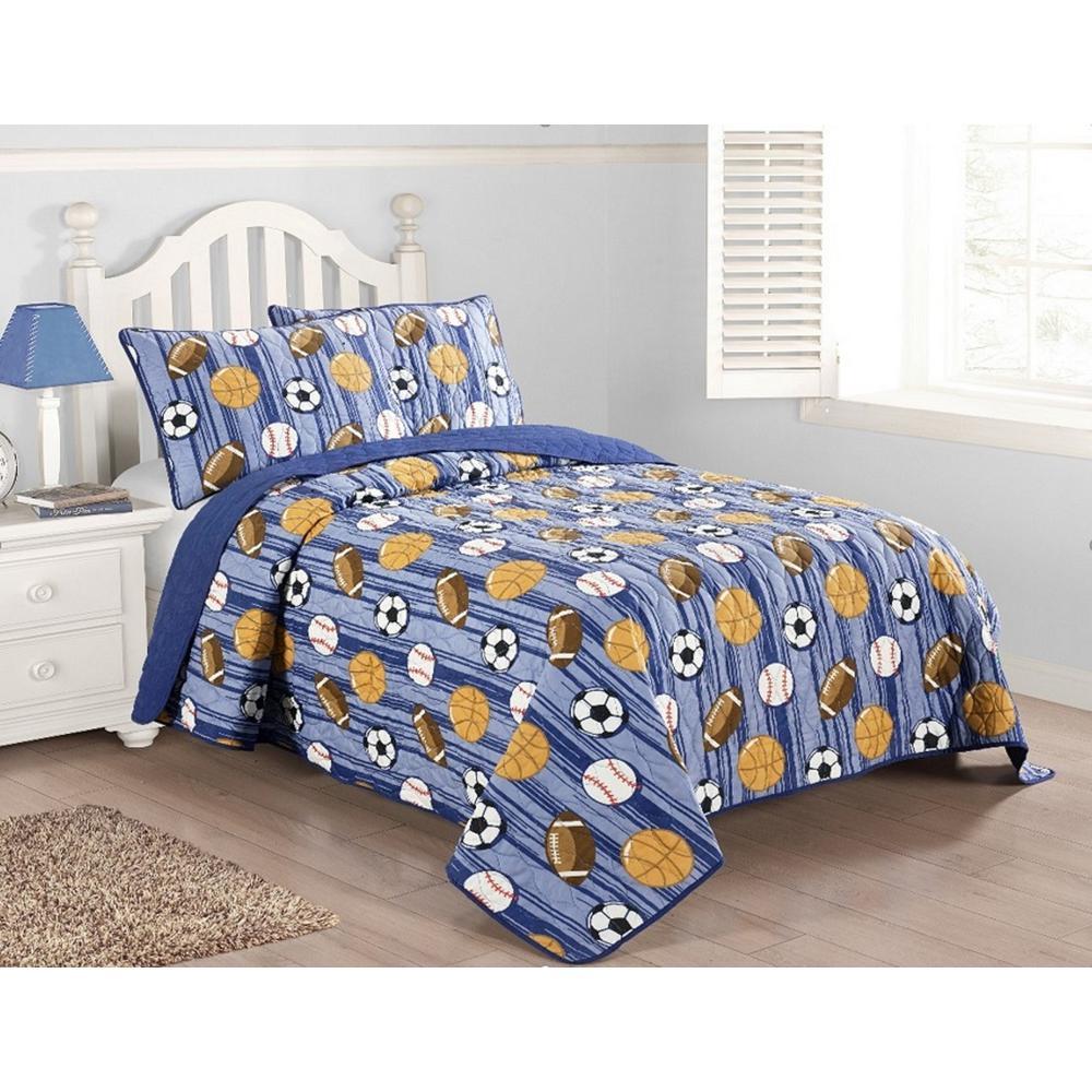 Kute Kids Junior Varsity Blue 3-piece Quilt Set