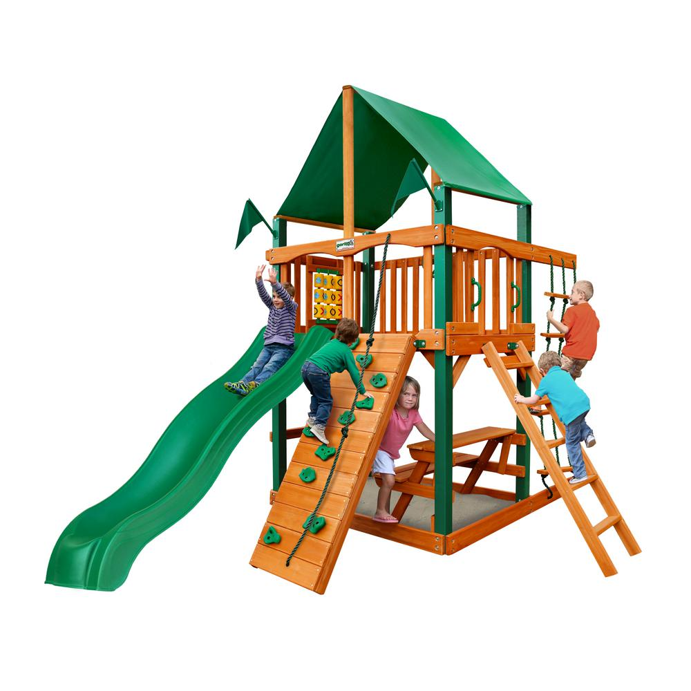 Gorilla Playsets Chateau Tower Wooden Playset with Green Vinyl Canopy, Timber ShieldPosts, and Rock Climbing Wall