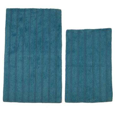 Aqua 17 in. x 24 in. and 24 in. x 40 in. Linear Reversible Reversible Bath Rug Set (2-Piece)