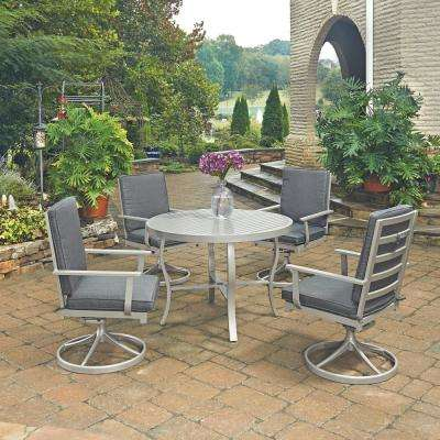 South Beach Gray 5 Piece Aluminum Round Outdoor Dining Set