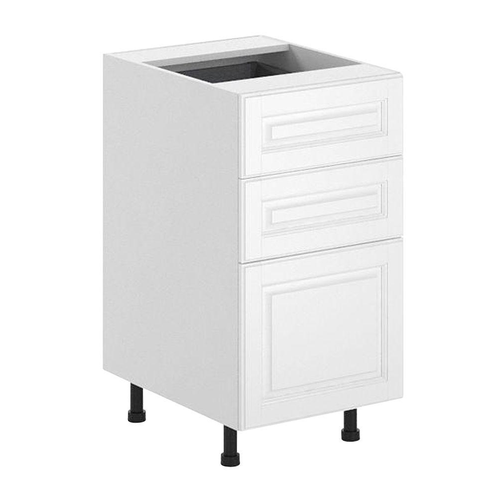 Fabritec Birmingham Ready to Assemble 18 x 34.5 x 24.5 in. 3-Drawer Base Cabinet in White Melamine and Door in White