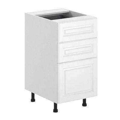 Birmingham Ready to Assemble 18 x 34.5 x 24.5 in. 3-Drawer Base Cabinet in White Melamine and Door in White