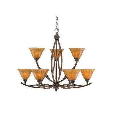 Concord 9-Light Black Copper Chandelier with Amber Crystal Glass