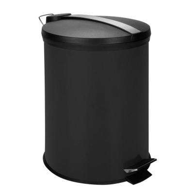 3 Gal. Black Round Metal Step-On Touchless Trash Can
