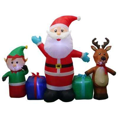 w pre lit inflatable santa reindeer and elf collection airblown scene - Outdoor Christmas Inflatables