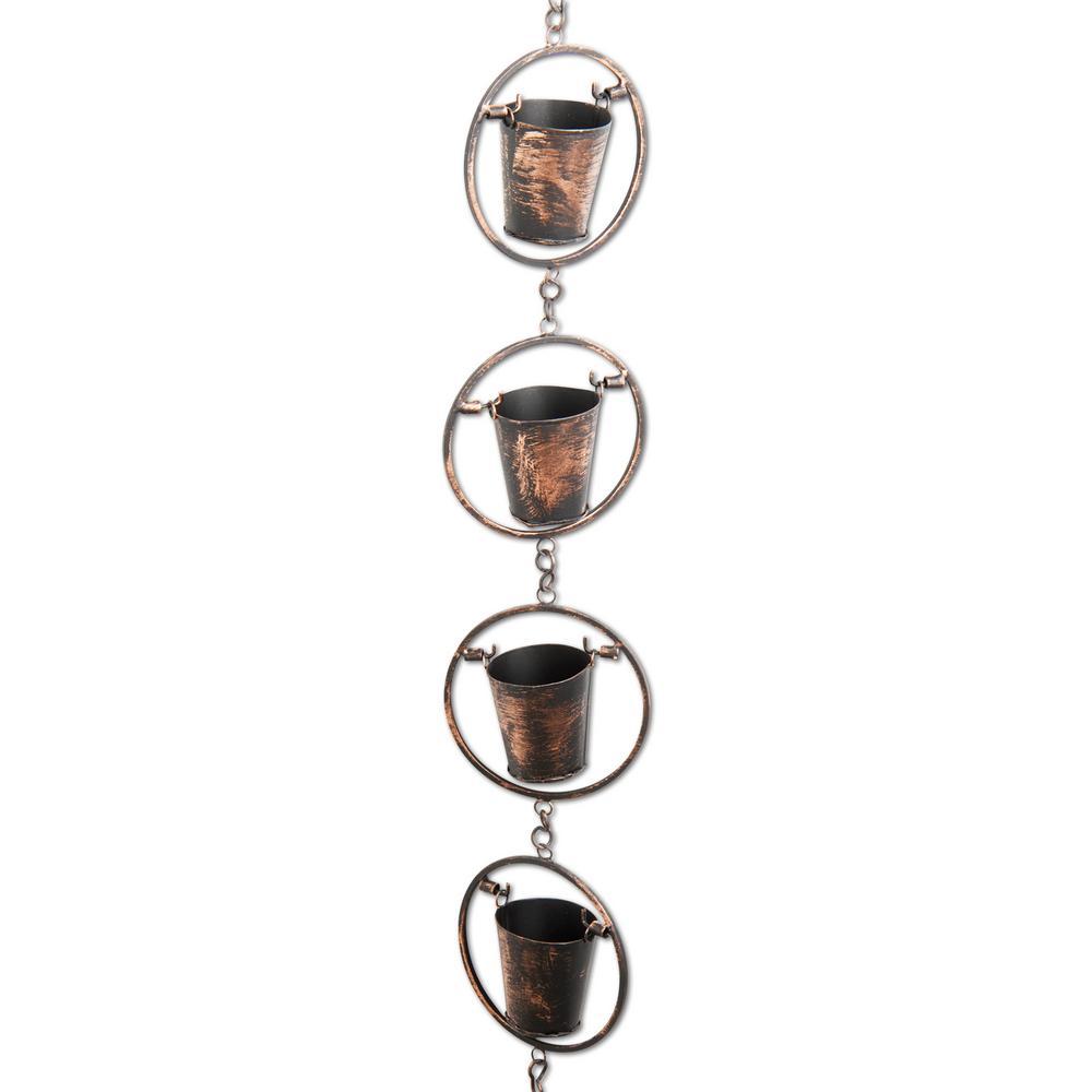 8 ft. 8-Cup Rustic Bucket Rain Chain