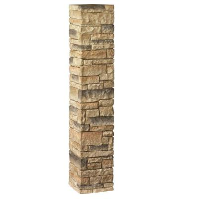 8-1/4 in. x 8-1/4 in. x 4-1/2 ft. Composite Beige Stacked Stone Fence Postcover