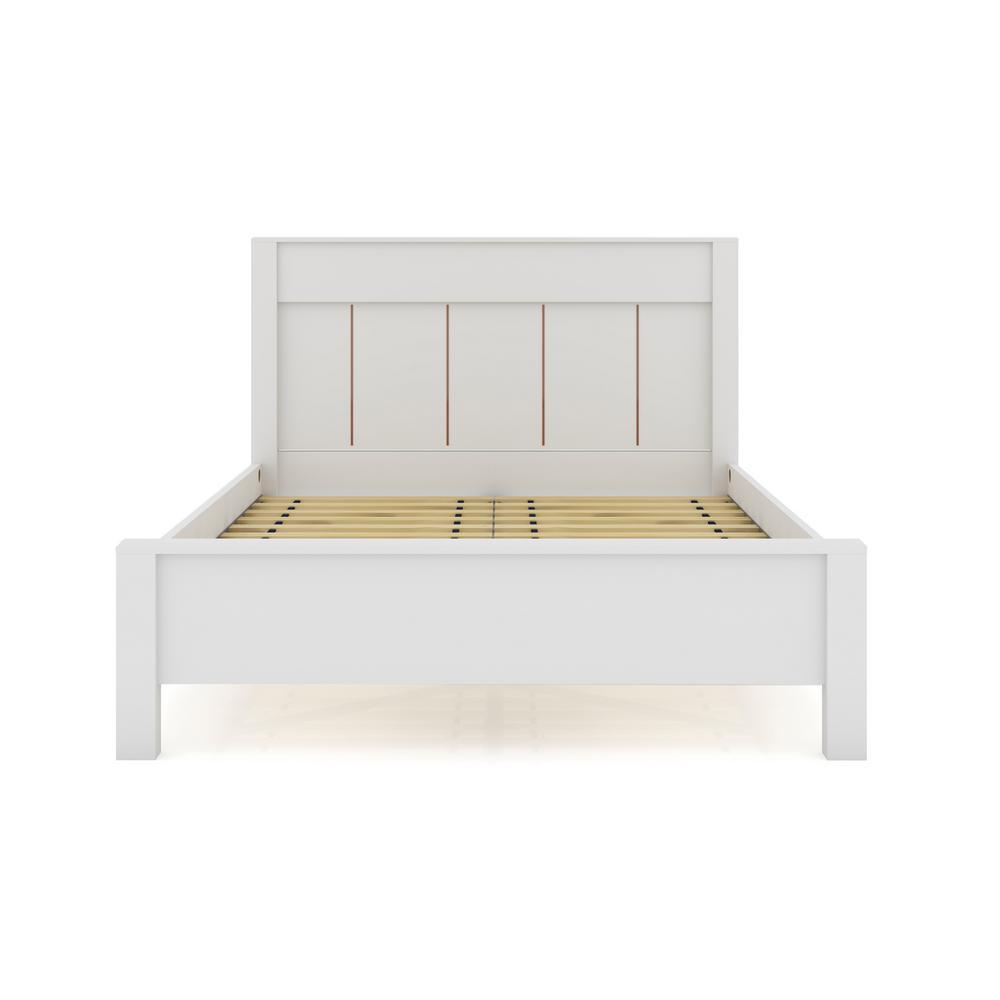 Oswego White Queen-Size Modern Bedframe with Headboard