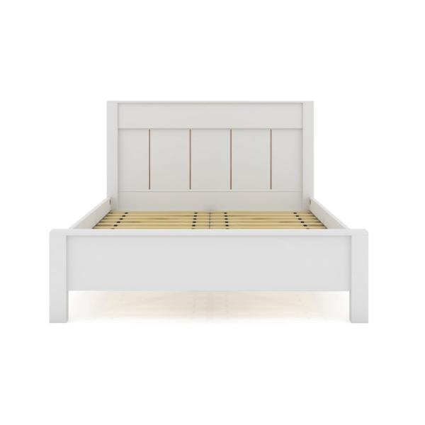 Luxor Oswego White Queen Size Modern, Queen Size Wood Bed Frame With Headboard
