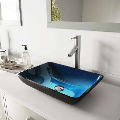 Rectangular Glass Vessel Sink in Turquoise Water and Dior Faucet Set in Brushed Nickel