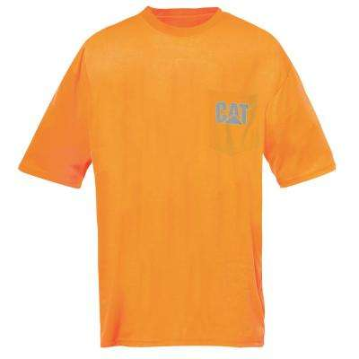 Hi-Vis Trademark Men's X-Large Orange Polyester Jersey Short Sleeved Pocket T-Shirt