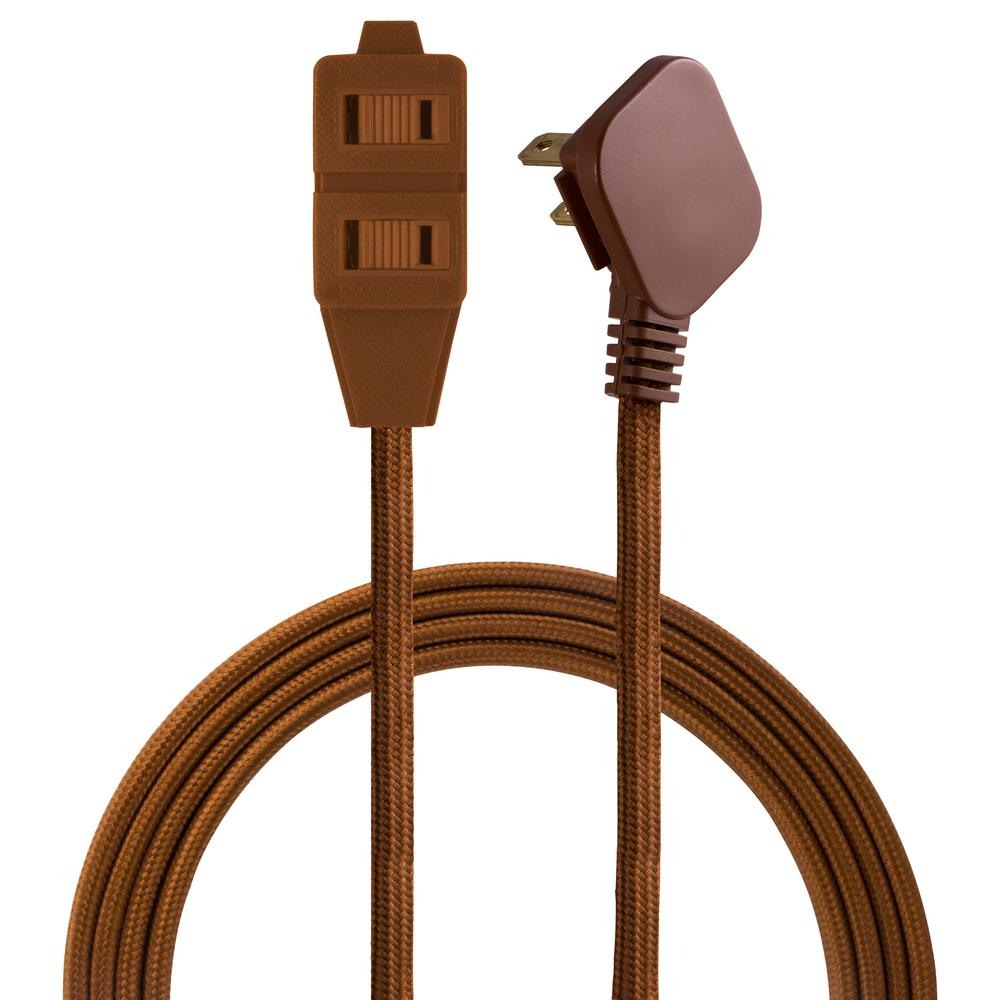 Cordinate 8 ft. 3 Polarized Outlet Basic Extension Cord, Brown-39982 ...