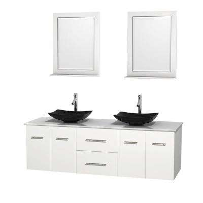 double vanity in white with vanity top in white