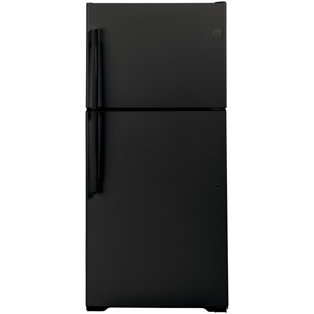 Ge 21 9 Cu Ft Top Freezer Refrigerator In Black Gts22kgnrbb The Home Depot