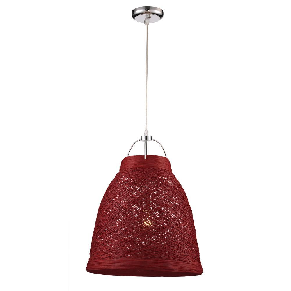 Basketweave 1-Light 23 in. Red Indoor Pendant