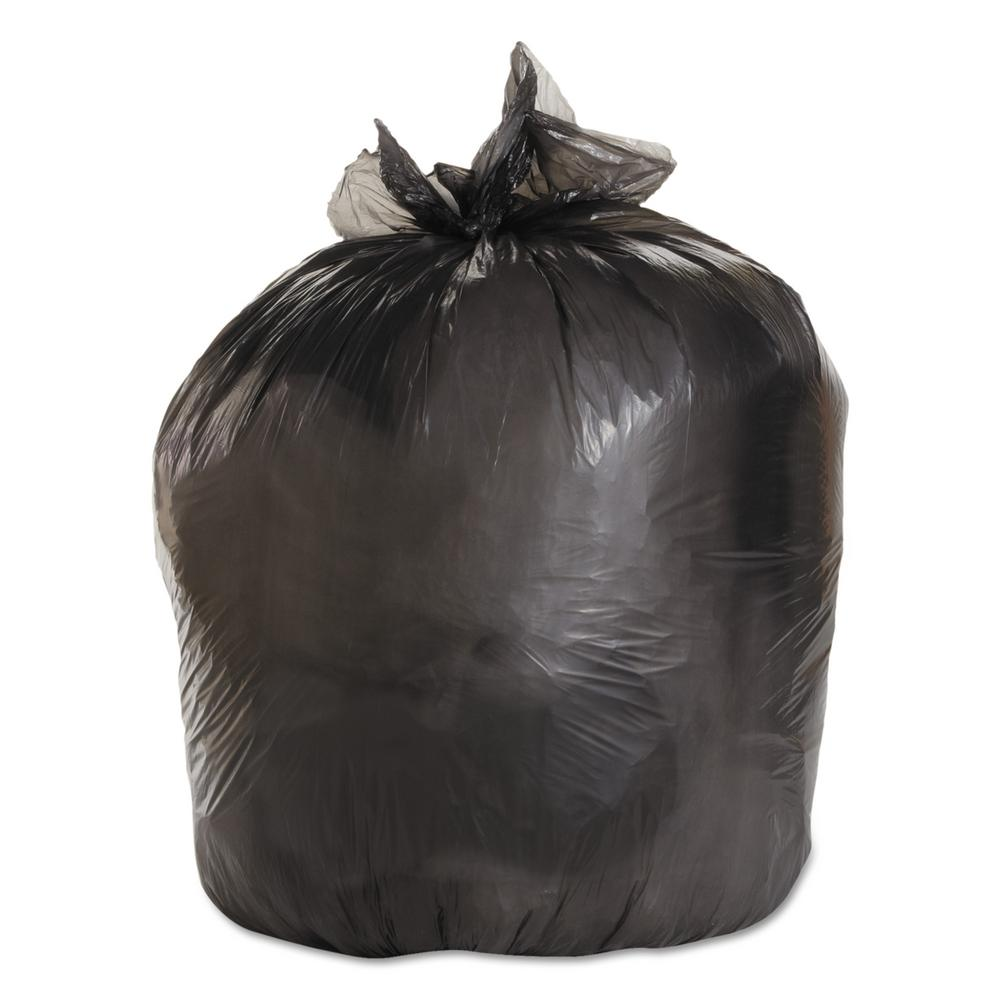 Medium-Grade Can Liners, 33x39, 33 Gal, .50 Mil, Black, 25 Bags/RL,