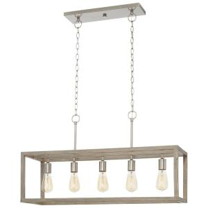 Boswell Quarter 5-Light Brushed Nickel Island Chandelier with Weathered Wood Accents