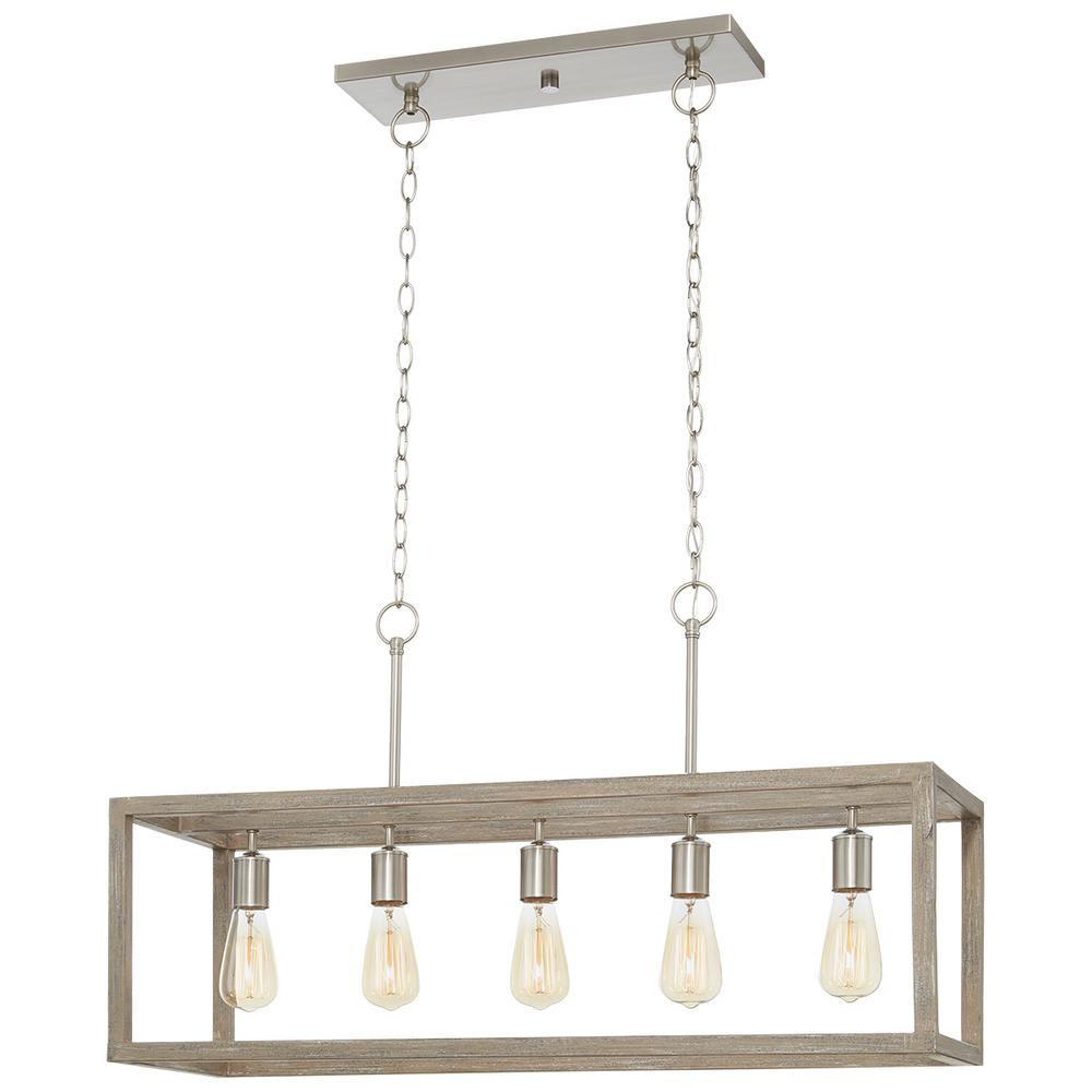 Home Decorators Collection Boswell Quarter 5-Light Brushed Nickel Island Chandelier with Weathered Wood Accents