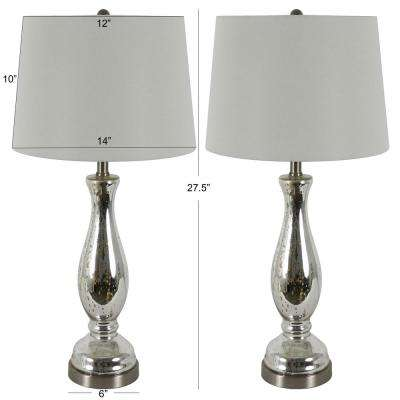 Pierce 27 in. Clear Mercury Glass Table Lamp with Shade (Set of 2 )
