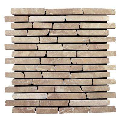 Sticks Tile Tan 11-3/4 in. x 11-3/4 in. x 9.5 mm Indonesian Marble Mesh-Mounted Mosaic Tile (10.67 sq. ft. / case)