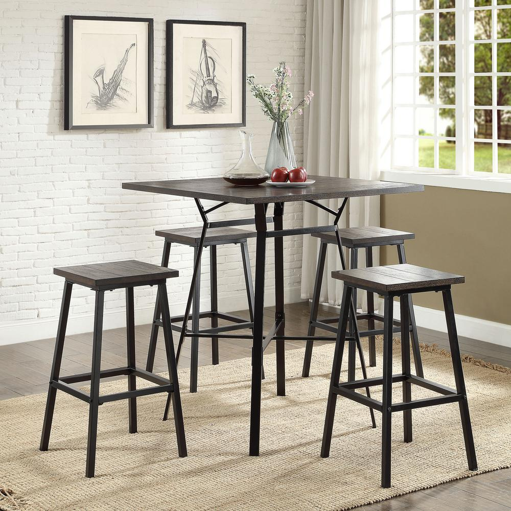 Acme Furniture Dora 5 Piece Weathered Dark Oak and Black Bar Table