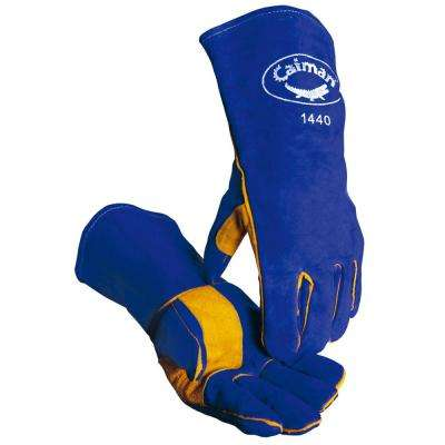 Blue Premium Cowhide Welding Glove Reinforced Palm and Thumb 1 Size fits All