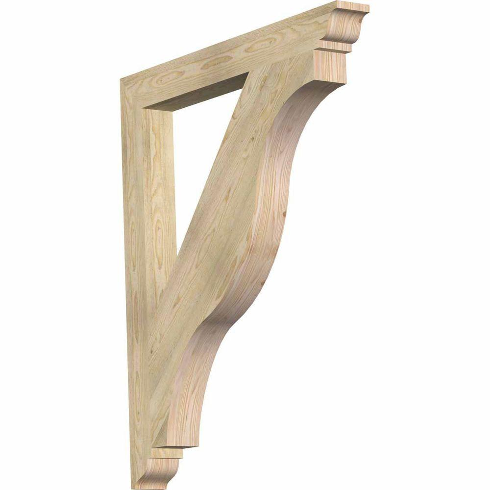 Ekena Millwork 4 in. x 44 in. x 38 in. Douglas Fir Funston Traditional Rough Sawn Bracket