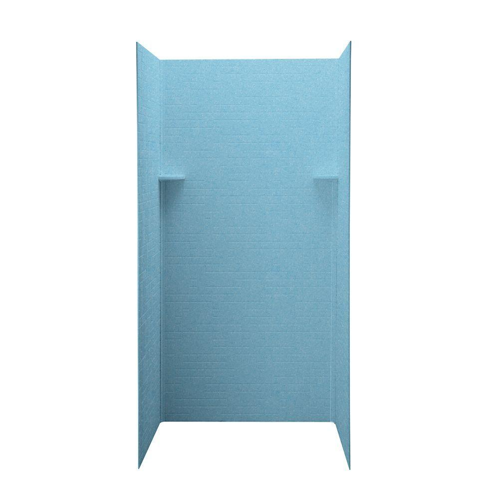 Swanstone Geometric 36 in. x 36 in. x 72 in. Three Piece Easy Up Adhesive Shower Wall Kit in Tahiti Blue-DISCONTINUED
