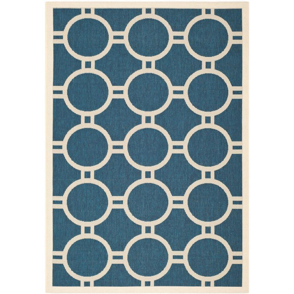Safavieh Courtyard Navy/Beige 4 ft. x 5 ft. 7 in. Indoor/Outdoor Area Rug