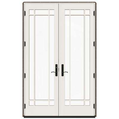 60 in. x 96 in. W-4500 Brown Clad Wood Right-Hand 9 Lite French Patio Door w/White Paint Interior
