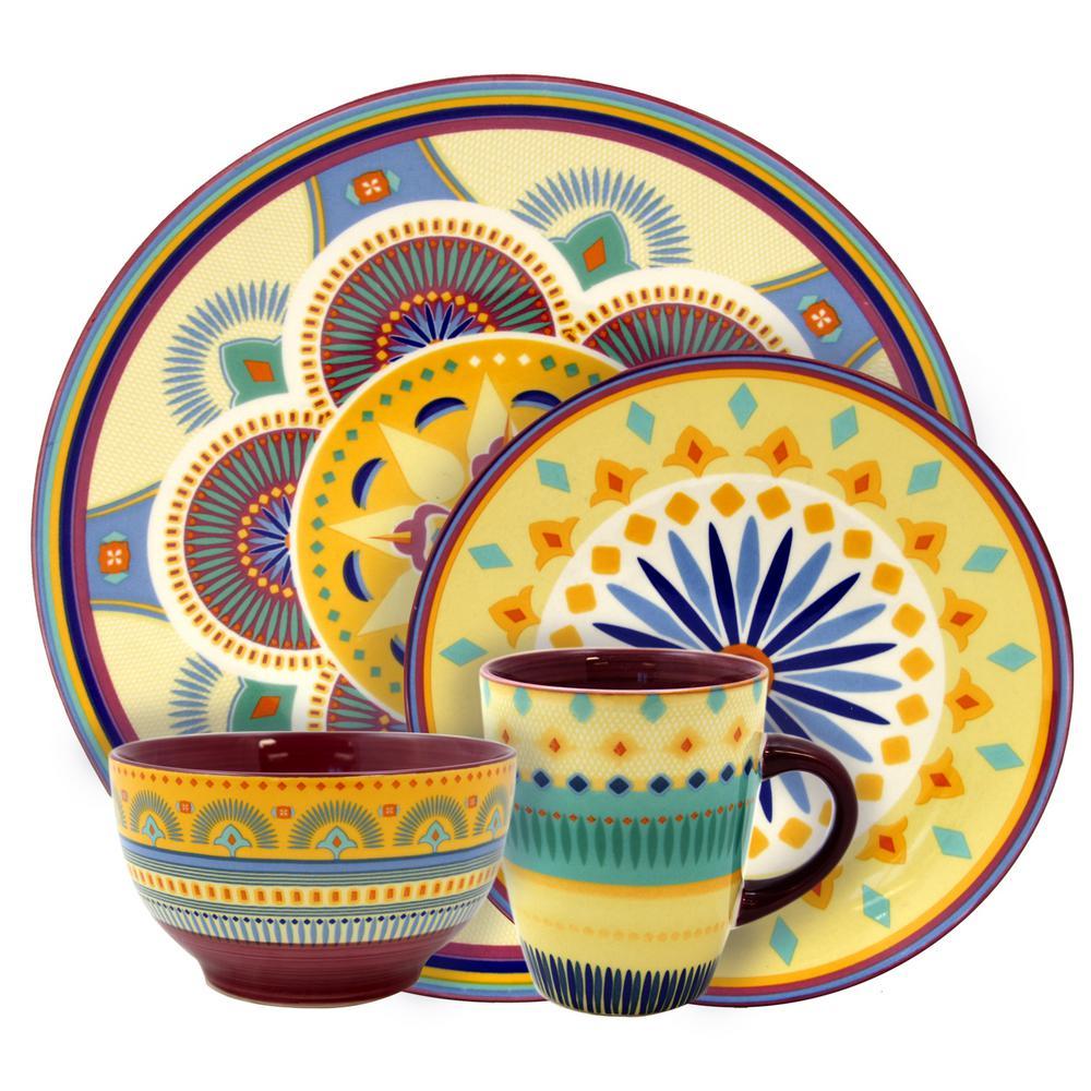 Puesta De Sol 16-Piece Assorted Colors Service for 4-Stoneware Dinnerware Set