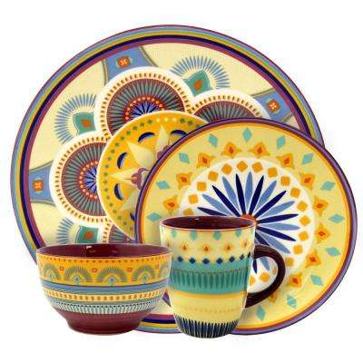 Puesta De Sol 16-Piece Assorted Colors Service for 4-Stoneware Dinnerware Set