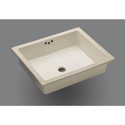 Kathryn Vitreous China Undermount Bathroom Sink in Biscuit with Overflow Drain