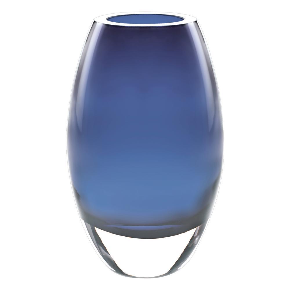 Badash Crystal 9 in. Midnight Blue European Mouth Blown Crystal Radiant Decorative Vase