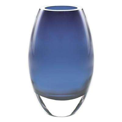 9 in. Midnight Blue European Mouth Blown Crystal Radiant Decorative Vase